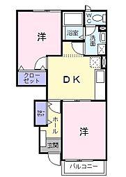 埼玉県三郷市早稲田8丁目の賃貸アパートの間取り