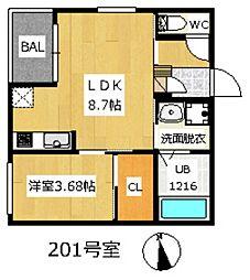 REGALEST北野田 2階1LDKの間取り
