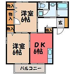 栃木県宇都宮市中今泉5丁目の賃貸アパートの間取り