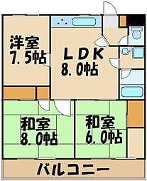 京王線 多磨霊園駅 徒歩6分の賃貸マンション 3階3LDKの間取り