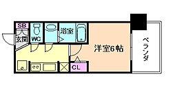 エステムプラザ福島ジェネル 4階1Kの間取り