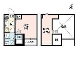 埼玉県さいたま市大宮区土手町1の賃貸アパートの間取り
