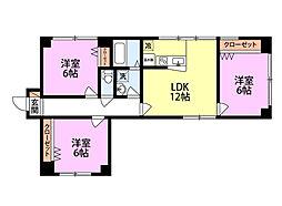 新潟県新潟市中央区東中通1番町の賃貸マンションの間取り