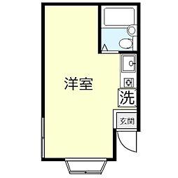 羽成(ハナリ)コーポ 1階ワンルームの間取り