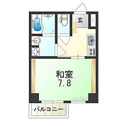 JR大阪環状線 今宮駅 徒歩8分の賃貸マンション 3階1Kの間取り