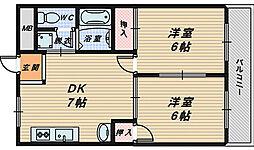金岡コーポラス[3階]の間取り