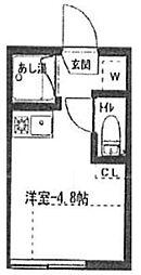 アーバンプレイス初台 1階ワンルームの間取り