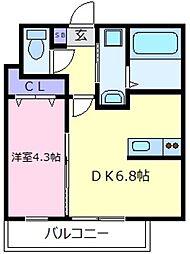 大阪府羽曳野市島泉8丁目の賃貸アパートの間取り