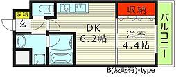 プレジオ都島 10階1DKの間取り