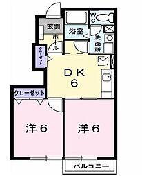 埼玉県坂戸市にっさい花みず木5丁目の賃貸アパートの間取り