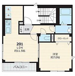 JR山手線 目黒駅 徒歩18分の賃貸マンション 2階1LDKの間取り
