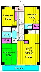 JR南武線 矢野口駅 徒歩7分の賃貸マンション 3階3LDKの間取り