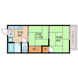 滋賀県近江八幡市中村町の賃貸アパートの間取り