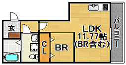 阪急京都本線 上新庄駅 徒歩5分の賃貸アパート 2階1LDKの間取り