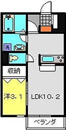 神奈川県横浜市港北区大曽根3丁目の賃貸アパートの間取り