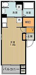 東武東上線 東松山駅 徒歩20分の賃貸アパート 2階1Kの間取り
