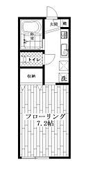 東京都中野区大和町1丁目の賃貸アパートの間取り