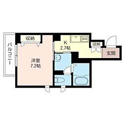 (仮)緑区橋本5丁目シャーメゾン 3階1Kの間取り
