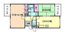 大阪府豊中市利倉東1丁目の賃貸マンションの間取り