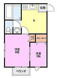 新潟県新発田市豊町2丁目の賃貸アパートの間取り