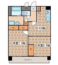 神奈川県横浜市南区庚台の賃貸マンションの間取り