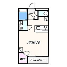 JR阪和線 和泉府中駅 徒歩7分の賃貸アパート 1階ワンルームの間取り