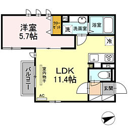 東急田園都市線 溝の口駅 徒歩10分の賃貸アパート 2階1LDKの間取り