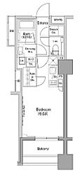 ザ・パークハビオ木場 2階ワンルームの間取り