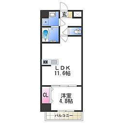 MANDARIN COURT 深井駅前 3階1LDKの間取り