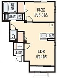 東京メトロ丸ノ内線 南阿佐ヶ谷駅 徒歩14分の賃貸テラスハウス 1階1LDKの間取り