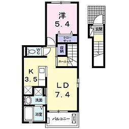 プチフローラ 北野田 I 2階1LDKの間取り