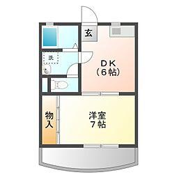 愛知県豊橋市往完町字往還西の賃貸アパートの間取り