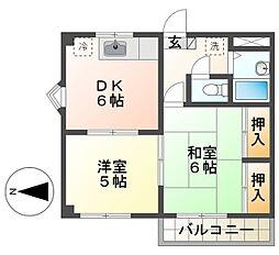 シャトル朝倉[3階]の間取り
