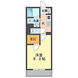 愛知環状鉄道 北岡崎駅 徒歩24分の賃貸アパート 1階1Kの間取り