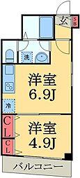 JR総武線 幕張駅 徒歩9分の賃貸マンション 3階1DKの間取り