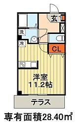 京成千葉線 千葉中央駅 徒歩11分の賃貸マンション 1階ワンルームの間取り