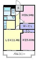 近鉄南大阪線 恵我ノ荘駅 徒歩9分の賃貸マンション 3階2LDKの間取り