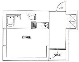 東急池上線 雪が谷大塚駅 徒歩9分の賃貸マンション 1階ワンルームの間取り