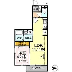 東武伊勢崎線 谷塚駅 徒歩25分の賃貸アパート 2階1LDKの間取り