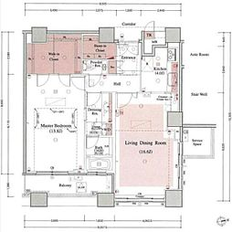 新交通ゆりかもめ お台場海浜公園駅 徒歩2分の賃貸マンション 27階1LDKの間取り