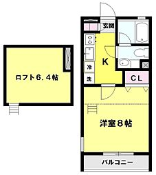 東京都三鷹市北野2丁目の賃貸アパートの間取り