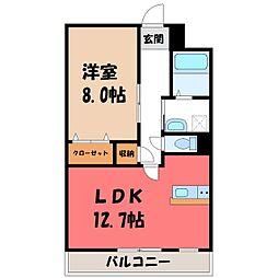 栃木県宇都宮市一条4丁目の賃貸マンションの間取り