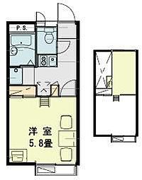 JR川越線 笠幡駅 徒歩14分の賃貸アパート 1階1Kの間取り