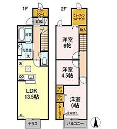 [タウンハウス] 岡山県倉敷市中畝7丁目 の賃貸【/】の間取り