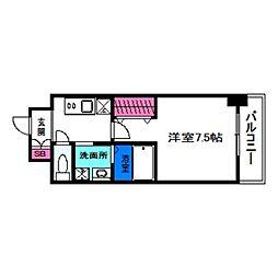 JR阪和線 美章園駅 徒歩2分の賃貸マンション 3階1Kの間取り