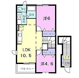 東京都西東京市中町6丁目の賃貸アパートの間取り