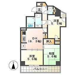 ライオンズマンション八王子南町[7階]の間取り
