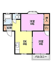 新潟県新潟市中央区京王2丁目の賃貸アパートの間取り
