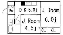 福岡県福岡市中央区平尾4丁目の賃貸マンションの間取り