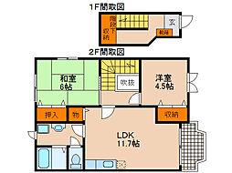 滋賀県長浜市室町の賃貸アパートの間取り